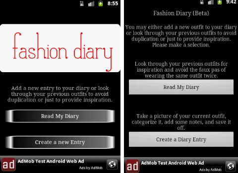 Android Fashion Apps, Fashion Diary App 2011